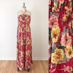 Torrid Floral Maxi Dress Halter Tropical Long F640